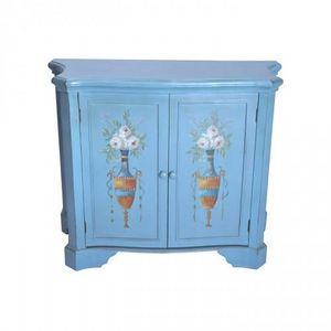 Demeure et Jardin - buffet bleu 2 portes urnes fleuries - High Chest