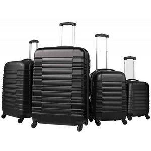 WHITE LABEL - lot de 4 valises bagage abs noir - Suitcase With Wheels
