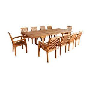 BOIS DESSUS BOIS DESSOUS - salon de jardin en bois de teck midland 10/12 plac - Outdoor Dining Room