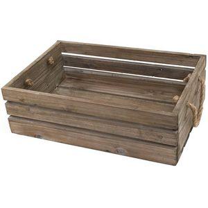 CHEMIN DE CAMPAGNE - grande caisse casier en bois de cuisine 47x32x14 c -