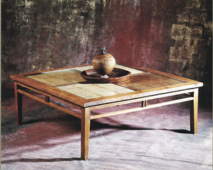 Matahati - table basse 120 x 120 teck et bambou - Square Coffee Table