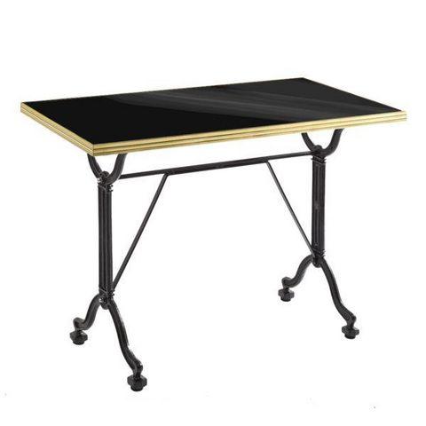 Ardamez - Rectangular dining table-Ardamez-Table de repas émaillée noir / laiton / fonte