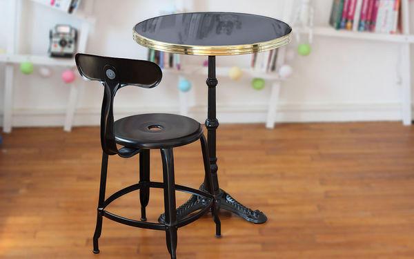 Ardamez - Bistro table-Ardamez-Table de bistrot émaillée anthracite / laiton