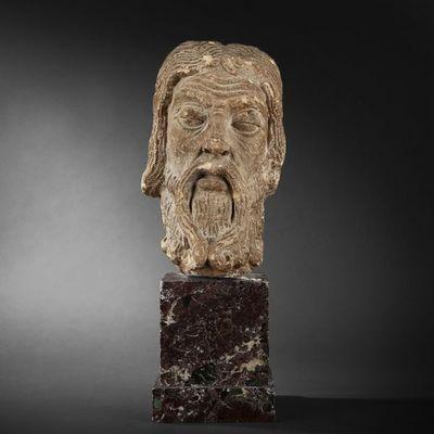 Expertissim - Sculpture-Expertissim-Tête d'apôtre, Ile-de-France, fin du XIIe siècle