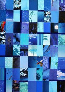 JOHANNA L COLLAGES - in the mood for blue - Zeitgenössische Gemälde