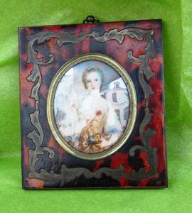 Art & Antiques - miniature sur ivoire et cadre boulle - Fotorahmen
