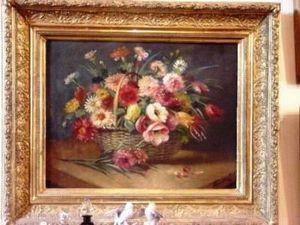 Art & Antiques - bouquet de fleurs campagnard du xixe - Ölgemelde Auf Leinwand Und Holztafel