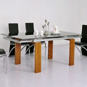 Smart Boutique Design - table en verre noire à rallonge extensible timor - Rechteckiger Esstisch