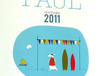 ICI LA TERRE - affiche prénom garçon guéthary - Dekorative Gemälde Für Kinder
