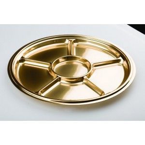 Adiserve - plat rond 6 compartiments or 30,5 cm couleurs or - Einweggeschirr