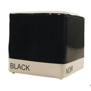 International Design - pouf bicolore cube - couleur - noir - Sitzkissen