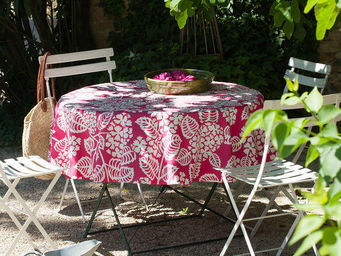 FLEUR DE SOLEIL - nappe enduite hortensia fuchsia 160x160 - Viereckige Tischdecke