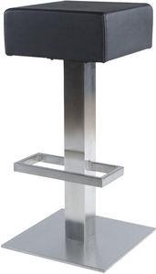 KOKOON DESIGN - tabouret de bar square en similicuir noir 36x35x81 - Barhocker