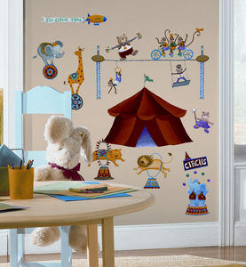 RoomMates - stickers repostitionnables monde du cirque 33 élém - Kinderklebdekor