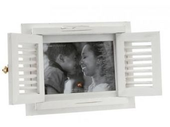 Present Time - cadre photo pied à terre bois blanc - Fotorahmen
