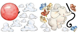 Wallies - stickers chambre bébé éléphant volant - Kinderklebdekor