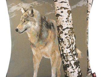 Art De Lys - loup en hiver, fond gris - Kissen Quadratisch