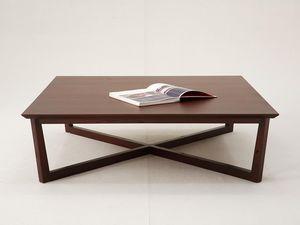 WHITE LABEL - table basse carrée varadero - bois clair - Rechteckiger Couchtisch