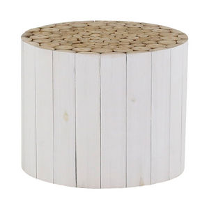 ZAGO - table basse en teck teinté blanc 70 cm refuge - Runder Couchtisch