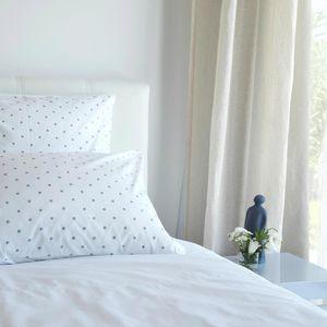 MAISON D'ETE - taie d'oreiller en coton blanc pois gris - Kopfkissenbezug