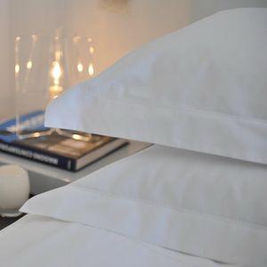 MAISON D'ETE - taie d'oreiller en percale de coton blanc 80 fil/ - Kopfkissenbezug