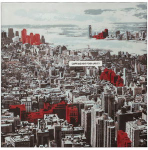 KOKOON DESIGN - toile peinte city structure bois 100x100cm - Dekobilder