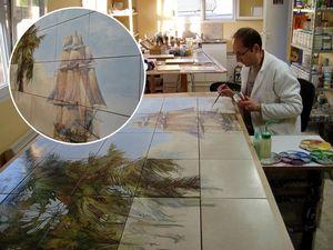 ART DECO CERAM - paysage exotique avec navire - Wand Fliesenmosaik