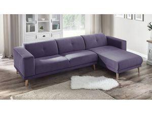 BOBOCHIC - canapé d'angle avec pouf luna prune poudré angle droit - Andere Sofas