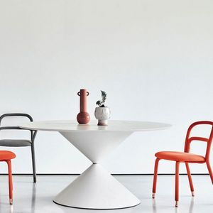 Midj - clessidra - table ø 150 cm chêne laqué blanc - Runder Esstisch