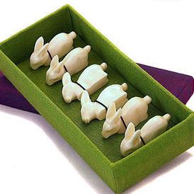 Siecle Paris - boite porte couteaux en os lapin - Messerhalter