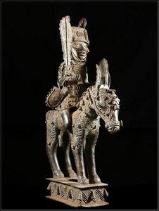Arts Africains - oba et son cheval - Skulptur