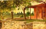 Galerie Emeric Hahn - cimetière hors les murs. stanboul. - Ölgemelde Auf Leinwand Und Holztafel