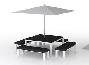 swanky design - rok dining set with umbrella - Gartengarnitur