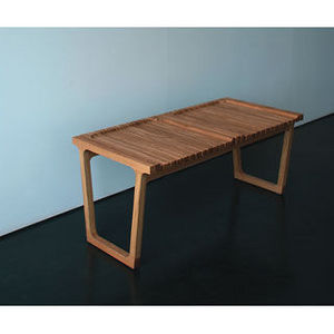 Country Seat - feint bench 2 seat oak bench, oiled finish - Bank