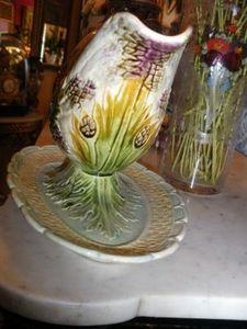 Art & Antiques - service à asperge en barbotine - Spargelplatte