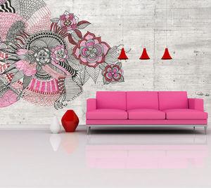 IN CREATION - esquisse rose - Panoramatapete