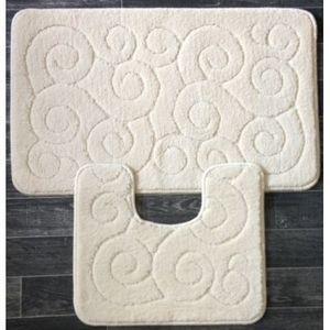 ILIAS - tapis salle de bain et toilette boucles beige - Badematte