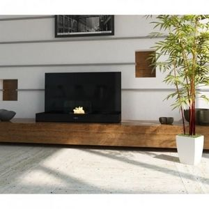 WHITE LABEL - chemine thanol dco design noir laque - Kamin Ohne Rauchabzug