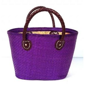 Aubry-Gaspard - cabas en palmier violet - Einkaufstasche
