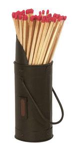 Aubry-Gaspard - seau en métal noir avec grattoir et allumettes 7,5 - Kaminanzünder
