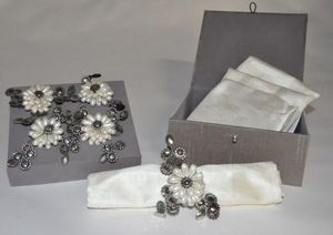 Demeure et Jardin - coffret 4 ronds de serviettes esprit chanel - Serviettenring