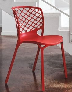 Calligaris - chaise empilable gamera de calligaris rouge - Gartenstuhl