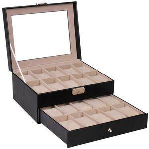 WHITE LABEL - coffret boîte présentoir 20 montres - Armbanduhrkasten