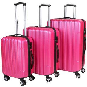 WHITE LABEL - lot de 3 valises bagage rigide rose - Rollenkoffer