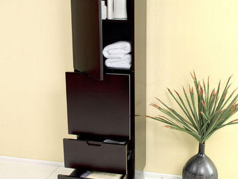 UsiRama.com - colonne de salle de bain design pas cher 1.5m noir - Badezimmerschrank
