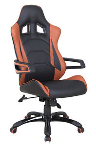 WHITE LABEL - fauteuil de bureau design simili cuir noir et marr - Bürostuhl
