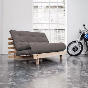 WHITE LABEL - canapé bz style scandinave roots futon gris coucha - Schlafsofa
