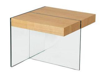 WHITE LABEL - bout de canapé verre et bois - zorg n°2 - l 60 x l - Beistelltisch