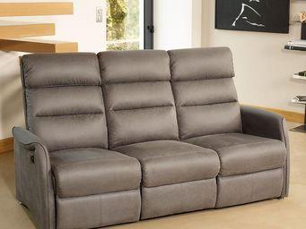 WHITE LABEL - canapé de relaxation électrique 3 places gris - so - Sofa 3 Sitzer