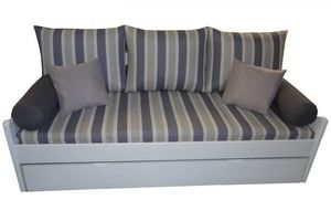 WHITE LABEL - banquette gigogne arsene à rayures grises matelas  - Schlafcouch